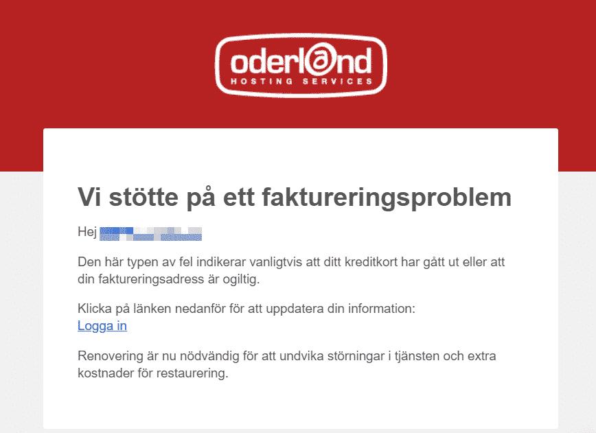 Phishing-mail som utger sig vara Oderland