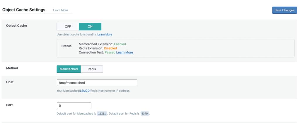 Inställningar för Memcached - Object Cache